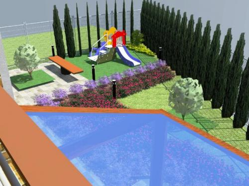 Ландшафтный дизайн таунхауса. Вариант 2.